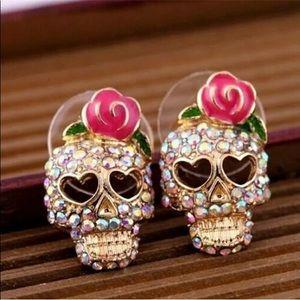 NEW W TAGS Rose Rhinestone Skeleton Skull Earrings